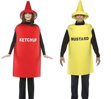 Couples Costumes Mustard & Ketchup Adult Tunic & Hat Halloween Dress Up