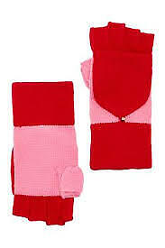 KATE SPADE Colorblock Pop-Top Mittens Fingerless Charm Red/Pink O/S