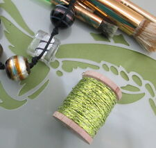 Vintage Lime Green French Tinsel Fly Tying Embroidery Weaving Knitting - 40 yds.