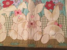 Pair (2) Bunny RABBIT Kids EASTER Placemats SPRINGTIME Applique Embroidery