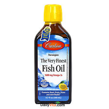 Carlson The Very Finest Norwegian Fish Oil Liquid Omega-3 DHA & EPA Lemon 6.7 oz