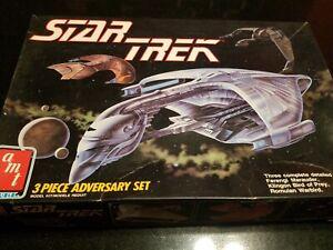 MIB AMT 1989 STAR TREK 3 PIECE ADVERSARY SET ROMALIN FERENGI KLINGON MODEL SHIPS