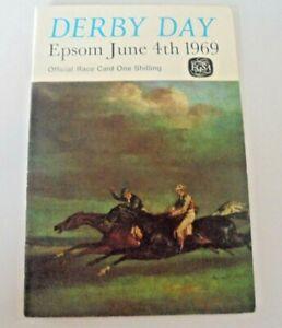 EPSOM RACE CARD JUNE 4TH, 1969 - THE DERBY WON BY BLAKENEY (E.JOHNSON/A.BUDGETT)