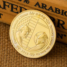 Donald Trump & Kim Jong-un Peace Talk Gold Plated Commemorative Coin Souvenir EB