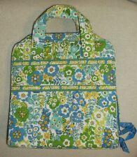Vera Bradley Cosmetic Makeup Bag Zippered 2 Handles Blue Floral Leaf Print Used
