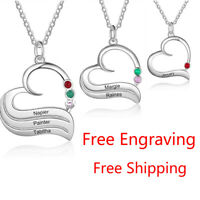 Personalized Woman Necklaces Silver Birthstone Pendant Chain Moms Jewelry Gift