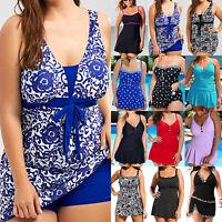 Plus Size Women Swimdress Swimsuit Padded Push Up Tankini Swimwear Beach Bathing