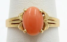 14K YELLOW GOLD CORAL CABOCHON COCKTAIL RING SIZE 6.5 NO RESERVE