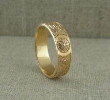 14K Yellow Irish Celtic Warrior Shield Wedding Ring made in Ireland Boru Size 11