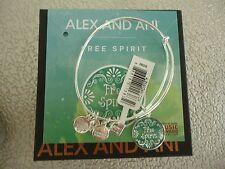 Alex and Ani FREE SPIRIT Shiny Silver Finish Charm Bangle New W/ Tag Card & Box