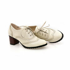 Retro Stylish Brogues Carved Lace Up Shoes Women's Oxford Chunky Heels Pumps C-5