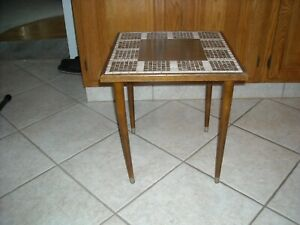 Mid Century Modern Mosaic Tile Top Side Table