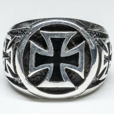 Iron Cross Maltese 925 silver Signet Ring Celtic Biker Schwartz feeanddave