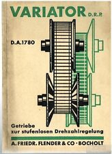 Variator  D.R.P. D.A. 1780 - Getriebe zur stufenlosen Drehzahlregelung.