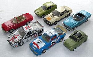 Lot 7 Vintage Burago & Polistil Cars Honda Lancia Mazda RX7 Fiat 500 Mustang