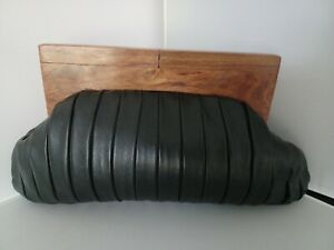 ModaPelle Iconic Vintage Black Leather Clutch Bag with Wooden Handle