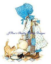 Holly Hobbie Feeding Her Cute Kitty Cats Fabric Block Choose 5x7 or 8x10 Size
