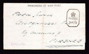 India WW2 Italian POW card YOL camp 21? folded letter sheet to Firenze
