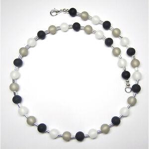 Kette echte Polarisperlen schwarz grau weiß silber Perlen Halskette neu TOP