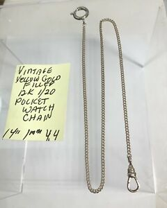 """Vintage Yellow Gold Filled 12K 1/20 Pocket Watch Chain 14"""" 1mm 4.4gr"""