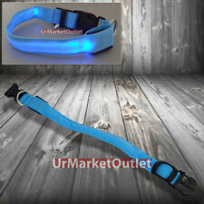 Blue Adjustable Glow Neon Flash LED Light Pet Safety Collar Strap Belt Dog Cat