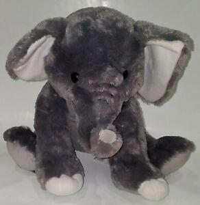 "Fiesta Gray Elephant Plush 15.5"" Stuffed Animal Toy Lovey White SOFT"