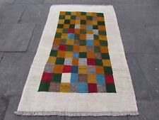 Traditional Tribal Hand Made Persian Gabbeh Oriental White Wool Rug 184x118cm