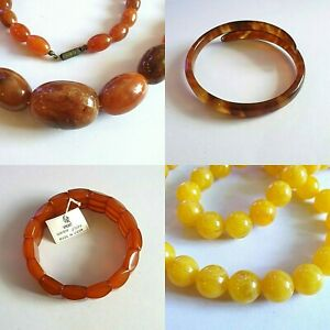 Natural Butterscotch Baltic Amber Necklaces and Bracelets - Vintage Beads (USSR)