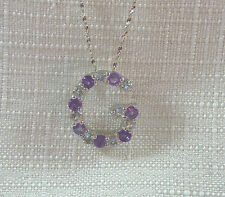 "1.60ct Genuine Amethyst & Topaz Solid 925 Sterling Silver ""G"" Pendant & Chain"