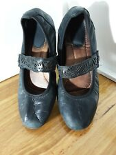 Earth Shoe Pilot Black Distressed Leather Mary Janes Womens Size 9.5B