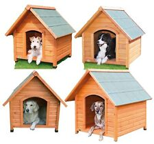 Wood Dog House Log Cabin Kennel Outdoor Waterproof Wooden Pet Cage Raised Floor