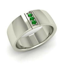 Natural Emerald Gemstone 925 Sterling Silver Men's Ring SR4857