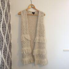 Topshop Woollen Knitted Fringe Long Cream Boho Waistcoat Vest Cardigan - 6