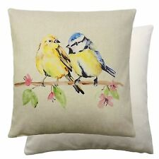 TWO LITTLE COLOURFUL BIRDS 100% COTTON ARTISTIC YELLOW BLUE CUSHION COVER 17""