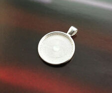 30PCS Bright Silver 25mm Round Pendant Trays Cabochon Settings #23437