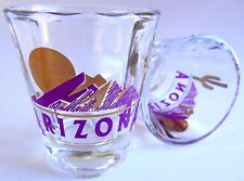 TWO Fluted Arizona purple Mountain Gold Sun shot glasses 2½ X 2 inch new