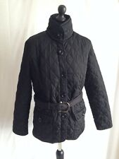 TSEGA 12 LADIES BLACK STYLISH QUILTED JACKET AND BELT SILVER COLOUR LINING C155