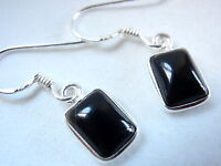 Black Onyx Rectangle 925 Sterling Silver Dangle Earrings Very Small New