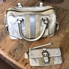 COACH  Signature C TieDye White & Silver Metallic Handbag & Wallet ULTRA RARE