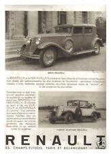 PUBLICITE RENAULT REINASTELLA ET NERVASTELLA 1930