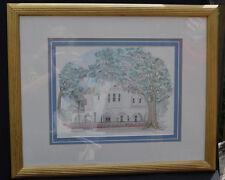 Vtg Art Print Framed Wall Jeanie Drucker Two Meeting Street Inn Charleston SC