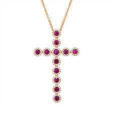 1.48tcw 14K Rose Gold Ruby & Diamond Cross Pendant Necklace, Gemstone Cross