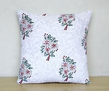 "New Indian Multi Floral Hand Block Printed 16"" Cushion Cover  Pillow Case Covers"