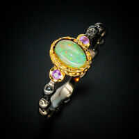 Vintage Antique Natural Opal 925 Sterling Silver Ring / RVS271 Natürlicher Opal