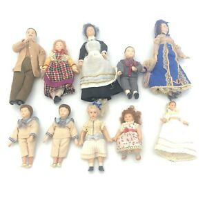 Vintage Dolls House Figures 10 Dolls 2-5 inches Lady Man Child Baby 18006 CP