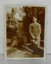 Orig 1936 Snapshot Photo Teenage Boy in Football Uniform Holding Helmet