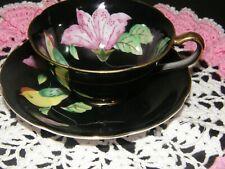 Vintage  Black & Pink  Tea Cup & Saucer Occupied Japan Flower & Bird