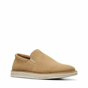 Clarks Forge Free Light Tan Beige Suede Mens Loafer Slip On Shoes 9.5 NEW