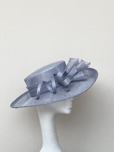 Blue Grey Wedding Occasion Races Hat