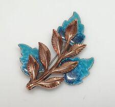 DRAMATIC Vintage RENOIR Copper & Turquoise Enamel Leaf LAUREL Brooch/Pin- ESTATE